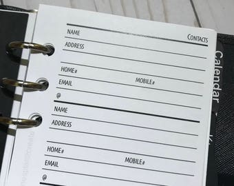Contacts and Addresses Printed Planner Inserts for Personal Size Planners