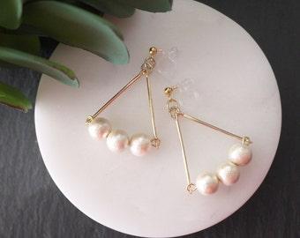 Cotton pearl earrings, 10mm cotton pearl earrings, invisible clip on earrings,