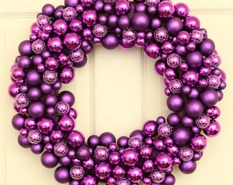 Purple Bubbly Christmas Holiday Wreath, Christmas Wreath for Door, Purple Christmas Wreath, Christmas Decoration, Unique Holiday Wreath