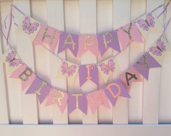Butterfly Princess Happy Birthday Banner 1st Birthday or Any Age Banner Pink Lilac Cream and Gold