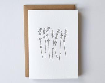 Letterpress Lavender Greeting Card