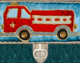 Firefighter Baby Decor Fire Truck Nursery Fire Engine Night Light Kids Fireman Firetruck Firefighter Nursery Nightlight Night Light Plug In