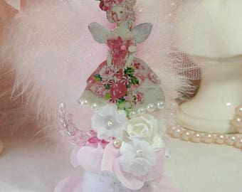 Pink Fairy, Christmas Ornaments, Vintage Victorian Images, Angels, Pixies, Tree Ornament, Pastel, Cottage Chic, Shabby