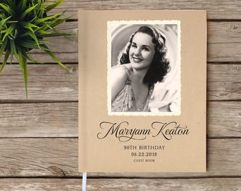 Birthday Guest Book, Vintage Photo Guest Book, Photo Guest Book, Milestone Birthday, Vintage Style Guest Book, White Pages, 80th Birthday