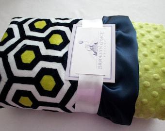 Premier Prints Dolce Vita Minky Cuddle Favo - Geometric in Navy and Apple Green, Crib Bedding, Baby Boy or Girl, Nursery