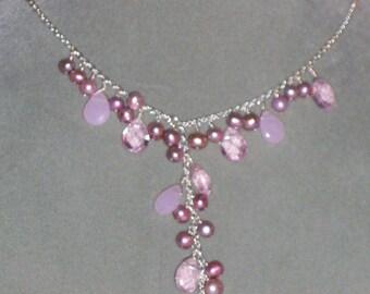 Pink Pearl Y Necklace