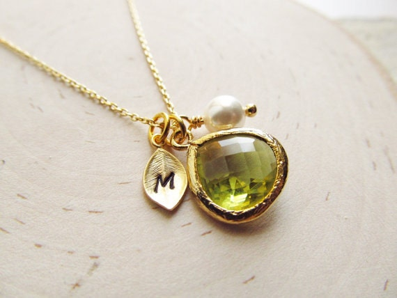 birthstone products august pinklion tag necklace peridot