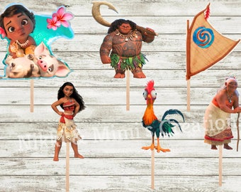 Moana Die Cuts/Cut Outs Birthday Party Cupcake/Cake/Centerpiece Toppers/Moana Birthday Decor/Moana Decorations/Girl Birthday/Moana Cupcakes