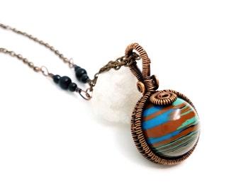 Rainbow Calsilica Pendant, wire wrapped pendant, wire wrapped jewelry, Rainbow Calsilica necklace, Rainbow Calsilica by Naomi's Classy Craft