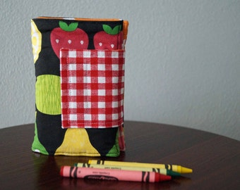 READY TO SHIP - Crayon Holder - Fruit - Red, Green, Yellow - Crayon Wallet - Crayon Roll - Gift Idea Under 20