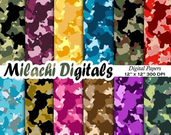 60% OFF SALE Camouflage digital paper, military scrapbook paper, army wallpaper, background, instant download - M373