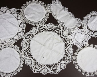 8 Vintage Lace Doilies in White