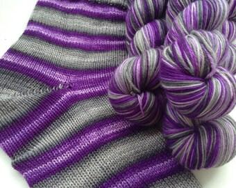 Hand dyed self striping merino sock yarn - Goth Princess
