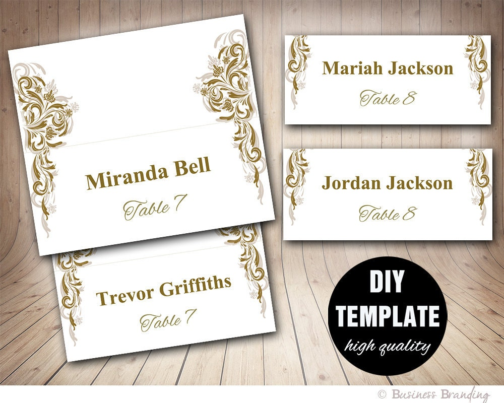 Antique Gold Wedding Placecard Template DIY Gold Place card