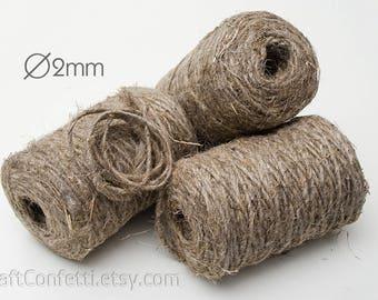 Natural hemp twine 2mm  Raw Handmade Rustic Natural Hemp cord Plain twine Decorative cord Gift tag string Craft twine Gift wrap / 200g