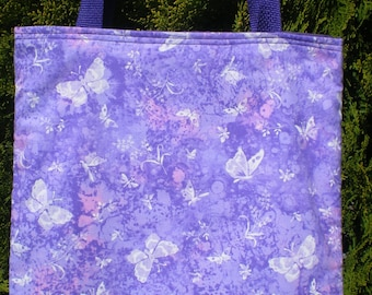 Butterfly Butterflies Tote Bag Flowers Great Gift Fun Book or Lunch Bag Handmade Purse