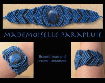 Blue and black stone macrame bracelet blue labradorite