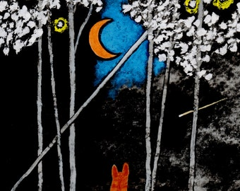 Orange Tabby Cat Folk Art print by Todd Young painting CRESCENT MOON