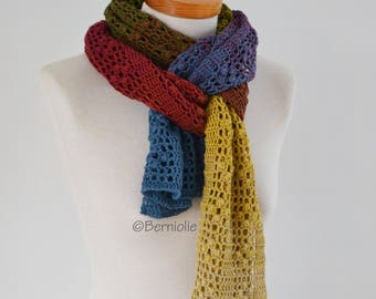 Crochet scarf, colorful, cotton blend, Q584