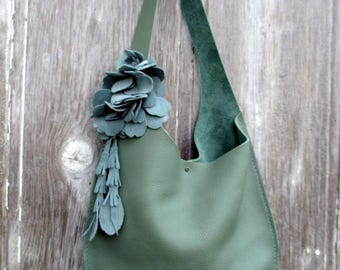 Green Leather Oval Sling Bag in Green with Blue Suede Flowers by Stacy Leigh