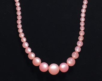 Vintage Pink Moonglow Bead Necklace