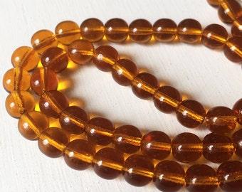 Yellow Amber Glass Smooth Round 8mm