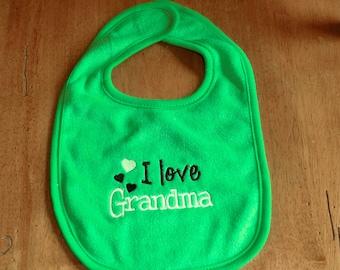 Embroidered Baby Bib -  I Love Grandma - Neutral - Green Bib