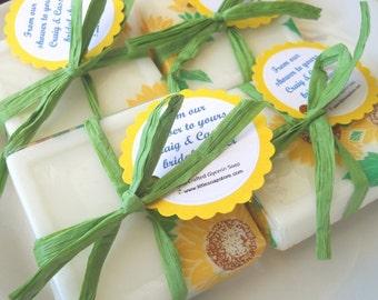 20 Sunflower soap favors, sunflower Wedding, shower sunflower favor, sunflower party decor, sunflower gift, sunflower for a baby, lover