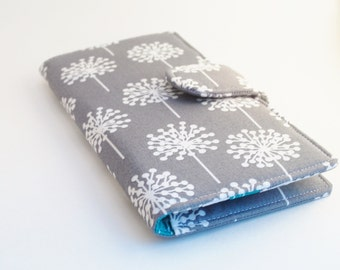 Women's Wallet, Fabric Clutch Style, Modern Floral Print, Dandelion, Teal and Grey