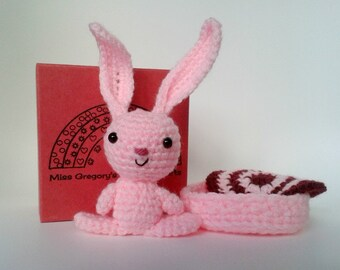 Pink Crocheted Amigurumi Bunny with Bed and Blanket, Gift Boxed, Crocheted Rabbit Toy