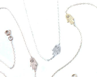 Hamsa Necklace / Hand of Fatima Necklace / Sideways hamsa necklace / Protection Necklace / Yoga Necklace / Hamsa Layering Necklace
