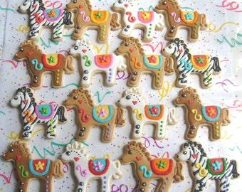 Carosel Horse Cookies - Horse Cookies - 1 Dozen