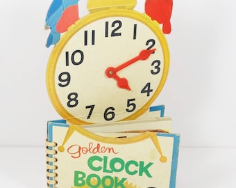 1962 Golden Clock Book A Golden Play and Learn Book - Learn to Tell Time Homeschool Elementary Book