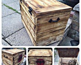 Rustic Personalised Engraved Outdoor Trunk and Garden Patio Ice Box