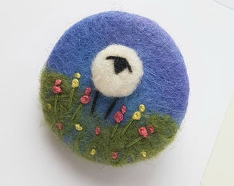 Hand felted and embroidered Sheep brooch - bright blue handcrafted felted wool brooch