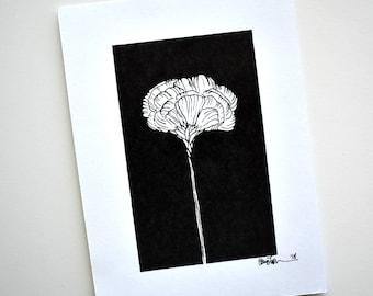 5 x 7 Art Print Black and White Simple Flower Detail Drawing, Pen and Ink Drawing, Minimal Flower Botanical Illustration, Flower Line Art