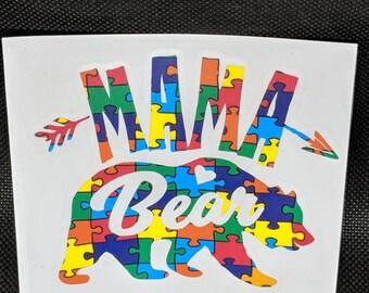 Decal - Mama Bear - Autism Awareness - Puzzle Pieces