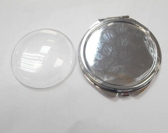 1 silver mirror with magnifying loupe on one side for cabochon 5.5 cm without the glass cabochon