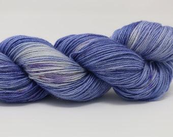 Hand Dyed Yarn - Superwash - Silver Stellina Sock Yarn - 84/16 Merino/Stellina - Tonal - 'Relax'