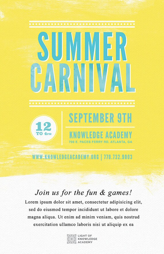 DIY Printable Summer School Carnival Flyer Template, Word Flyer Templates,  Bazaar Flyer, Kids Party, Outdoor BBQ Flyer, Watercolor Flyer  Flyer Format Word