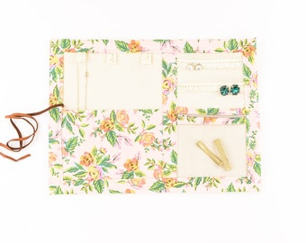 Small Jewelry Case / Roll up Travel Case - Jardin de Paris in Pink Peony - Rifle Paper Co.