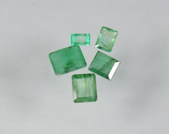 4.05 cts lot faceted emerald octagon cut Zambia