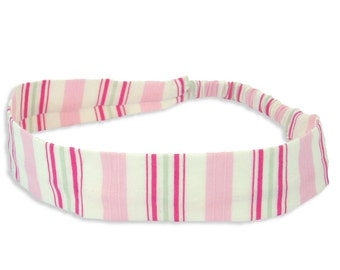 """Fabric Headband - Rose Stripe - Pick your size - fit toddlers to adults - 1-1/2"""" wide"""