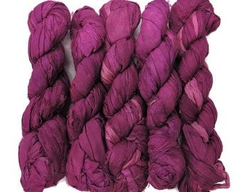 New! 50g Sari Silk Ribbon, 25-28 yards , color Purple