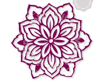 FLOWER SVG Cut file- Tropical Flower Embellishment Hand drawn Floral Template DIGITAL Svg Dxf Studio3 + Png for Silhouette Cricut Sure Cuts