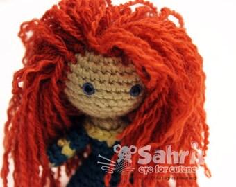 PATTERN Instant Download Merida Warrior Princess Brave Crochet Doll Amigurumi Disney Princess