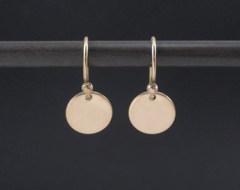 Gold Disc Earrings 14K Gold Filled Small Circle Earrings, Tiny Disc Earrings, Dainty Earrings, Dangle Drop Earrings, Minimalist Earrings