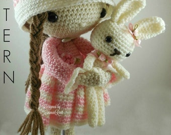 April and her Rabbit- Amigurumi Doll Crochet Pattern PDF