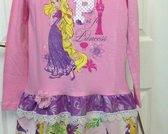 Handmade Princess Rapunzel T-Shirt Dress Size 6