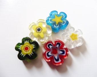 "5 millefiori flowers 13 mm ""assortment2"""